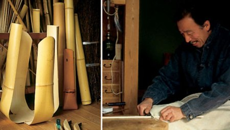 Matsumoto-san and his works in progress, photos by Nancy Moore Bess